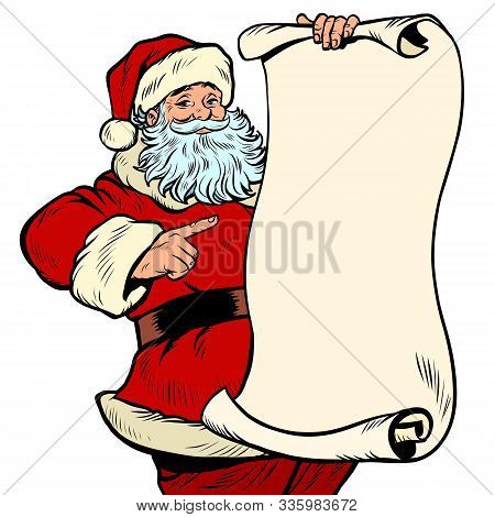 Santa Claus Character, Christmas And New Year. Pop Art Retro Vector Illustration Kitsch Vintage Draw