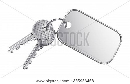 Steel Keyring With Blank Label For Text Or Number And Two Metal Door Keys Isolated On White Backgrou
