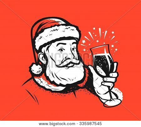 Santa Claus With A Glass. Christmas Or New Year Vector Illustration