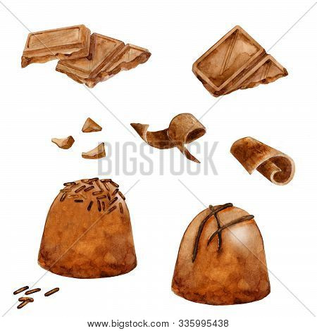 Watercolor Set Of Chocolate. Round Praline, Chunks And Cacao Bars. Hand Drawn Illustration Isolated