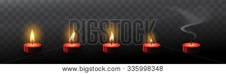 Red Tea Candles With Realistic Flare Texture Isolated On Transparent Background. Set Of 3d  Candle F