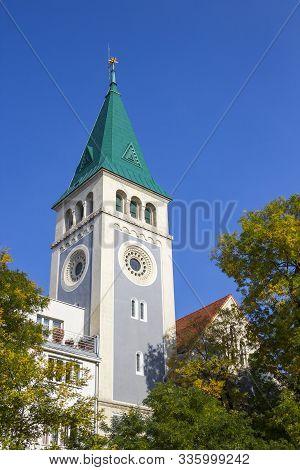 Tower Of Calvinist Church (kalvinsky Kostol) In Bratislava, Slovakia