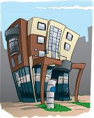 Design for a modern office building in and distorted cartoon form. poster
