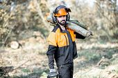 Portrait of a professional lumberman in protective workwear with a chainsaw and wooden logs during the work on logging in the pine forest poster