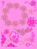 Bright Pink Purple Flowers on Soft Pink Background Design 2d poster