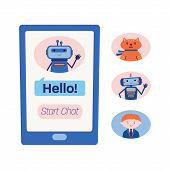Smart phone screen showing chat with a technical assistance bot and three variants of other chatbots, artificial intelligence, virtual assistant, customer support concept, flat vector illustration poster