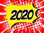 2020 Comic boom text sound effect on popart bubble speech cartoon background. Pop art boom effect  illustration poster