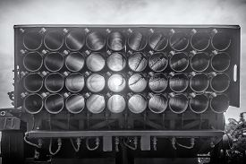 Multi-barreled Rocket Vehicle, Black And White, Backside View