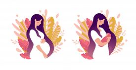 Set Of Illustrations About Pregnancy And Motherhood. Pregnant Woman With Tummy On A Background Of Le