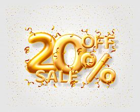 Sale 20 Off Ballon Number On The Grey Background.