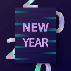 2020 New Year Card. Modern Design In Trendy Holographic Colours