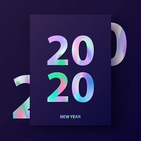 2020 New Year Card. Winter Holiday Invitation In Material Design.