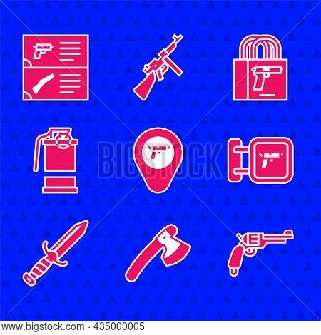 Set Location With Weapon, Wooden Axe, Revolver Gun, Hunting Shop, Military Knife, Hand Smoke Grenade