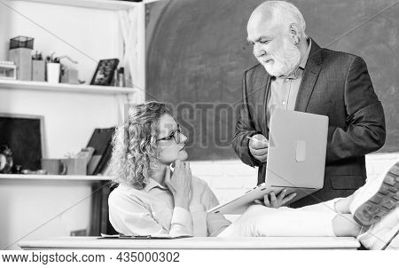 Modern School. Teaching Private Lessons Great Way Share Knowledge. Man Mature School Teacher And Car