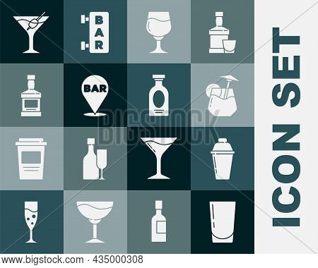 Set Glass With Water, Cocktail Shaker, Wine Glass, Alcohol Bar Location, Whiskey Bottle, Martini And