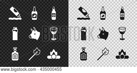 Set Ketchup Bottle, Beer, Sauce, Burning Match With Fire, Campfire, Lighter And Cow Head Icon. Vecto