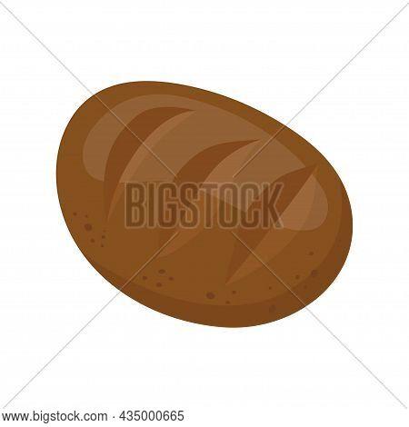Rye Dark Bread. Homemade Long Loaf. Bakery Item, Pastry. Vector Illustration Isolated On White Backg
