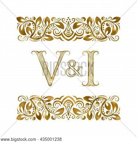 V And I Vintage Initials Logo Symbol. The Letters Are Surrounded By Ornamental Elements. Wedding Or