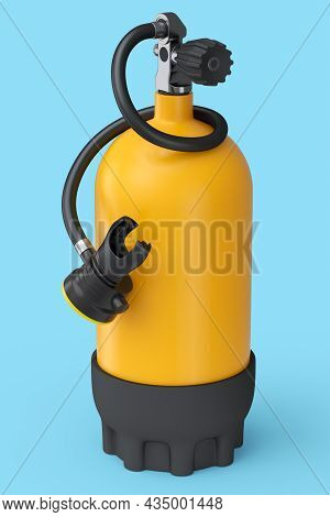 Orange Diving Tank Full Oxygen For Snorkeling Isolated On A Blue Background