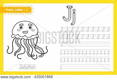 Trace Letter J Uppercase And Lowercase. Alphabet Tracing Practice Preschool Worksheet For Kids Learn