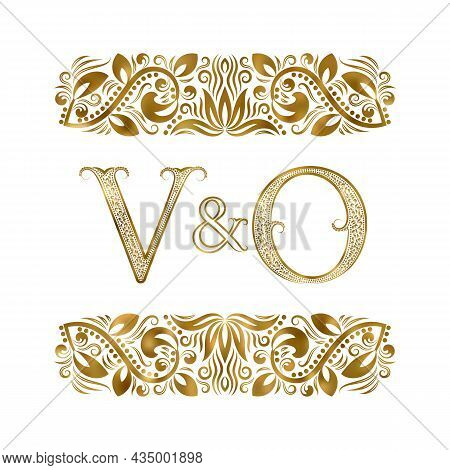 V And O Vintage Initials Logo Symbol. The Letters Are Surrounded By Ornamental Elements. Wedding Or