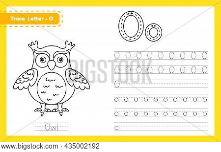 Trace Letter O Uppercase And Lowercase. Alphabet Tracing Practice Preschool Worksheet For Kids Learn