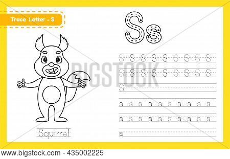 Trace Letter S Uppercase And Lowercase. Alphabet Tracing Practice Preschool Worksheet For Kids Learn