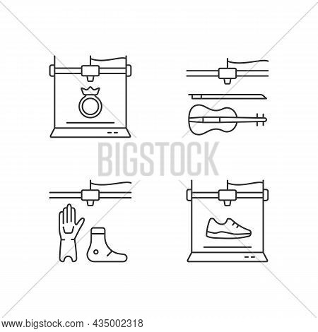Building 3d Objects Process Linear Icons Set. Jewelry Production. Artificial Limbs Fabrication. Cust