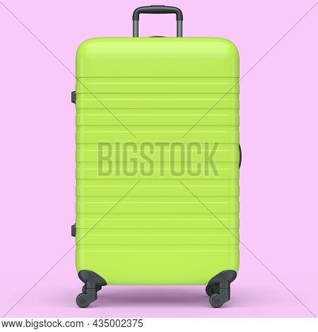 Large Green Polycarbonate Suitcase Isolated On Pink Background.