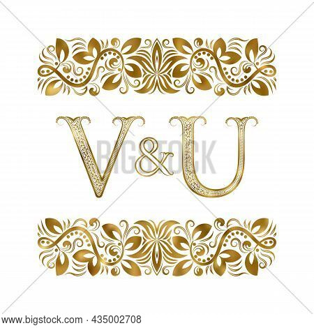 V And U Vintage Initials Logo Symbol. The Letters Are Surrounded By Ornamental Elements. Wedding Or