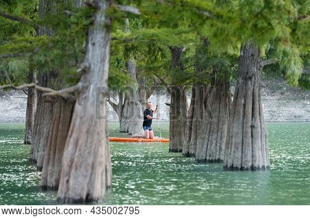 Russia, Sukko, September 15, 2021: A Man On A Rowing Board Between The Thick Trunks Of Swamp Cypress