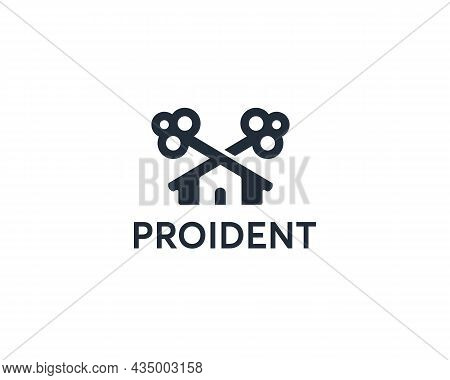Two Crossed Keys Combined Into House, Building Logo. Creative Monochrome Home, Real Estate, Protecti