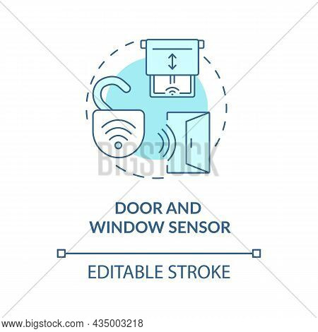 Door And Window Sensor Blue Concept Icon. Sensor Security System Abstract Idea Thin Line Illustratio