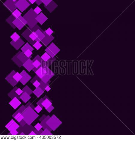 Seamless Abstract Pattern Of Rhombuses Of Purple Shades Arranged In Horizontal Lines On A Dark Backg
