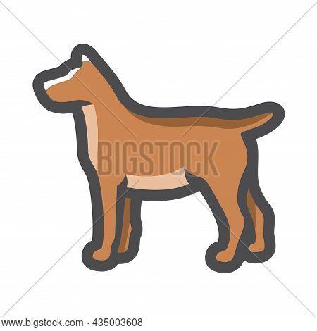 Dog Brown Fluffy Pet Vector Icon Cartoon Illustration