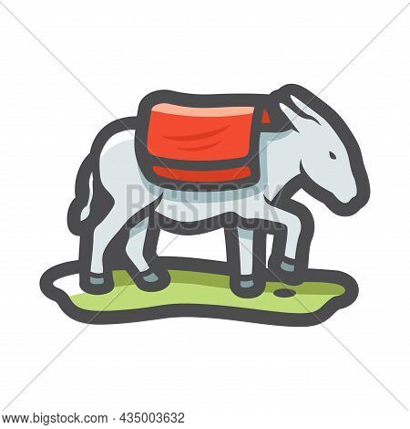 Donkey Farm Animal Vector Icon Cartoon Illustration.