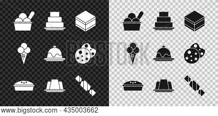 Set Ice Cream In Bowl, Cake, Brownie Chocolate Cake, Homemade Pie, Jelly, Candy, Waffle Cone And Ico