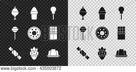 Set Ice Cream In Bowl, Waffle Cone, Lollipop, Candy, Strawberry Chocolate, Jelly Cake, And Donut Ico