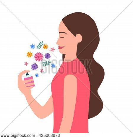 Woman Spraying Perfume With Flora Scent In Flat Design On White Background. Female Using Body Perfum