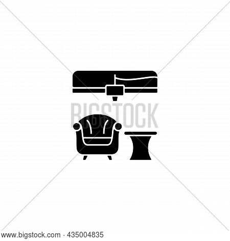 3d Printed Furniture Design Black Glyph Icon. Innovative Manufacturing Method. Armchair Prototype. B