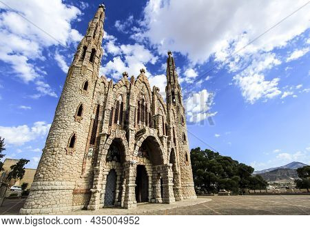 Novelda, Alicante, Spain- September 24, 2021: Details, Archs, Tower And Pictures Of Sanctuary Of San