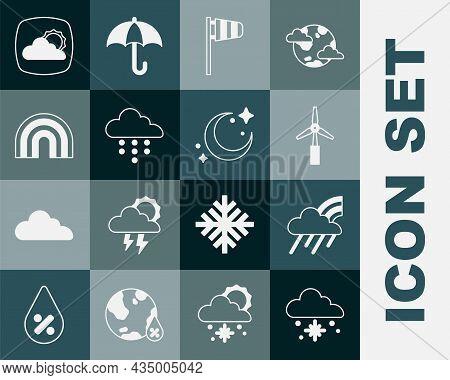 Set Cloud With Snow, Rainbow Cloud And Rain, Wind Turbine, Cone Windsock Wind Vane, Weather Forecast