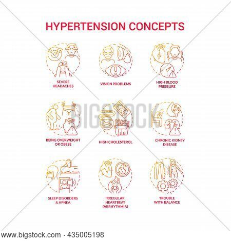 Hypertension Concept Icons Set. High Blood Pressure Condition Idea Thin Line Color Illustrations. Ch