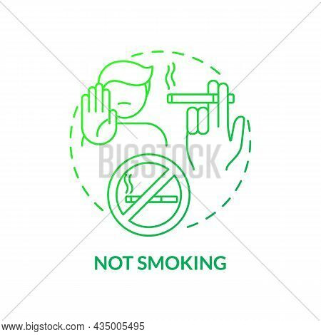 Not Smoking Concept Icon. Hypertension Prevention Tip Abstract Idea Thin Line Illustration. Prevent