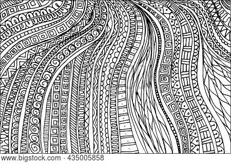 Doodle Surreal Fantasy Leaves Coloring Page For Adults. Fantastic Psychedelic Graphic Artwork. Vecto