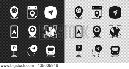 Set Location With Person, Travel Planning Calendar, Infographic Of City Map Navigation, Parking, Tra