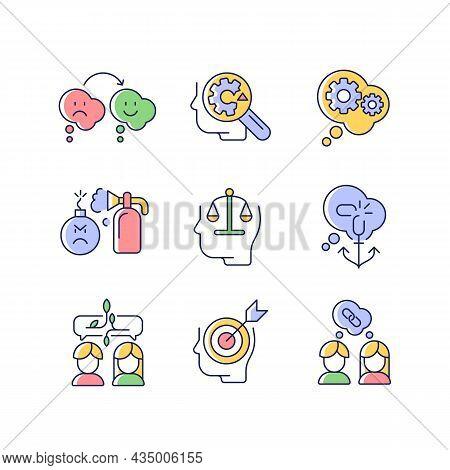 Critical Mindset And Attitude Rgb Color Icons Set. Rationality, Critical Thinking. Emotional Intelli