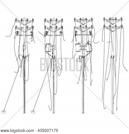 Contour Of Destroyed Power Lines From Black Isolated On White Background. Front View. Vector Illustr
