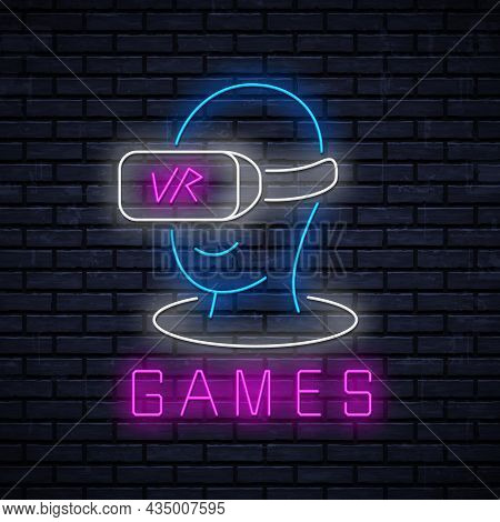 Vr Games Neon Icon For Decoration In Gaming Club. Vector Neon Sign For Advertising Game Club. Glowin