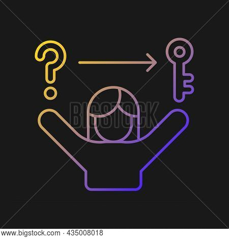 Problem Solving Skills Gradient Vector Icon For Dark Theme. Analytical, Logical Skills. Evaluation A